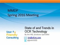 State of and Trends in OCR Technology PowerPoint PPT Presentation