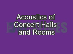 Acoustics of Concert Halls and Rooms