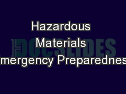 Hazardous Materials Emergency Preparedness