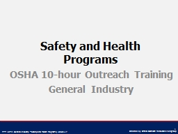 Safety and Health Programs PowerPoint PPT Presentation