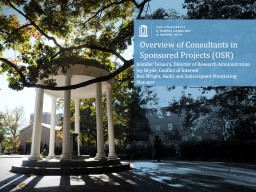 Overview of Consultants in Sponsored Projects (OSR)