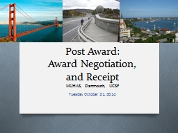 Post Award:  Award Negotiation,