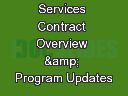 MCH Services Contract Overview & Program Updates
