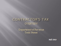 Contractor's Tax OVERVIEW