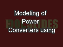 Modeling of Power Converters using
