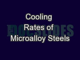 Cooling Rates of Microalloy Steels