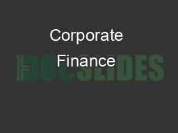 Corporate Finance & financial modelling