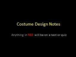 Costume Design Notes  Anything in