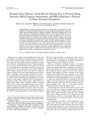 Semantic Error Patterns on the Boston Naming Test in Normal aging amnestic mild cognitive impairment and mild alzheimer's disease