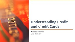 Understanding Credit and Credit Cards