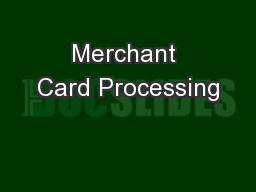 Merchant Card Processing