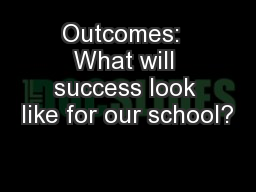 Outcomes:  What will success look like for our school?