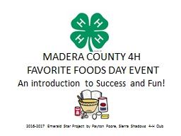 MADERA COUNTY 4H  FAVORITE FOODS DAY EVENT