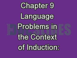 Chapter 9 Language Problems in the Context of Induction:
