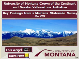 #16273 University of Montana Crown of the Continent and Greater Yellowstone Initiative