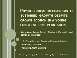 Physiological mechanisms of sustained growth despite crown scorch in a young longleaf pine plantati