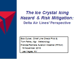The Ice Crystal Icing Hazard & Risk Mitigation: