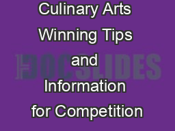 Culinary Arts Winning Tips and Information for Competition