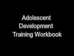Adolescent Development Training Workbook