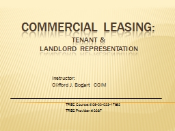 Commercial Leasing: Tenant &