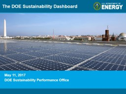 May 11, 2017 DOE Sustainability Performance Office