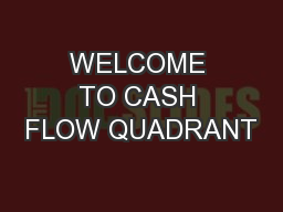 WELCOME TO CASH FLOW QUADRANT