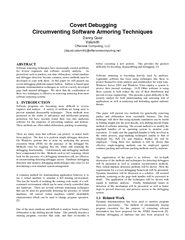 Covert Debugging Circumventing Software Armoring Techn