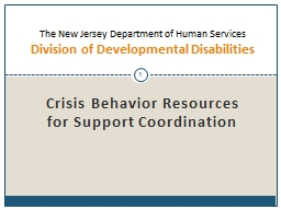 Crisis Behavior Resources