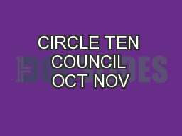 CIRCLE TEN COUNCIL OCT NOV