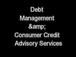 Debt Management & Consumer Credit Advisory Services
