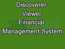 Discoverer Viewer Financial Management System