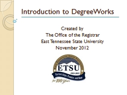 Introduction to DegreeWorks