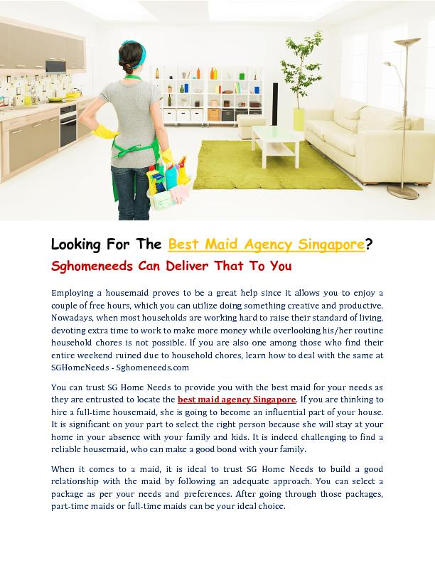 Best Maid Agency Singapore - Sghomeneeds