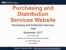 Purchasing and Distribution Services Website