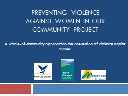 PREVENTING VIOLENCE AGAINST WOMEN IN OUR COMMUNITY Project