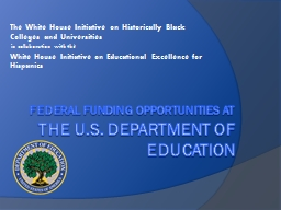 Federal Funding Opportunities at