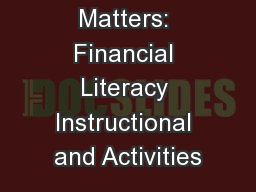 Money Math Matters: Financial Literacy Instructional and Activities