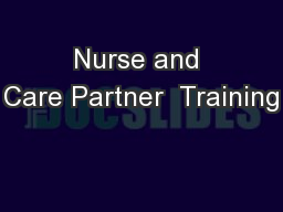 Nurse and Care Partner  Training