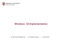 Windows 10 Implementation