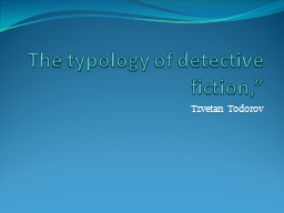 The typology of detective fiction