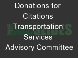 Donations for Citations Transportation Services Advisory Committee