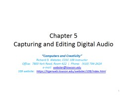 Chapter 5 Capturing and Editing Digital Audio