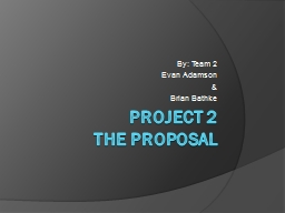 Project 2  The Proposal By