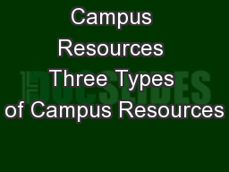 Campus Resources Three Types of Campus Resources