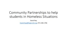 Community Partnerships to help students in Homeless Situations