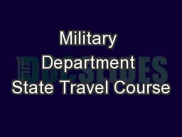 Military Department State Travel Course