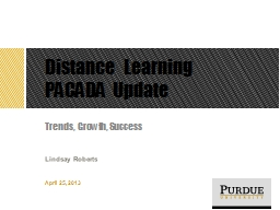 Distance Learning PACADA Update