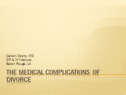 The Medical Complications of Divorce