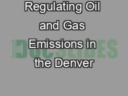 Regulating Oil and Gas Emissions in the Denver