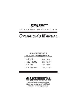 SOLAR LIGHTING CONTROLLER PERATOR ANUAL SUNLIGHT MODELS INCLUDED IN THIS MANUAL SL A  V SLV A  V SL A  V SLV A  V  Washington Crossing Road Washington Crossing PA  USA Website ww